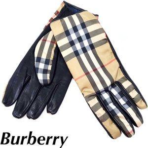 Burberry Nova Check Print Gloves Leather Nylon NEW